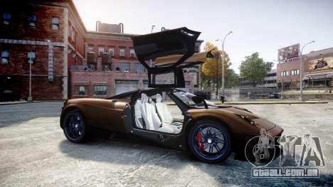 Pagani Huayra 2013 para GTA 4 vista lateral