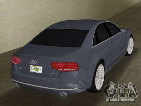 Audi A8 2010 W12 Rim1 para GTA Vice City vista direita