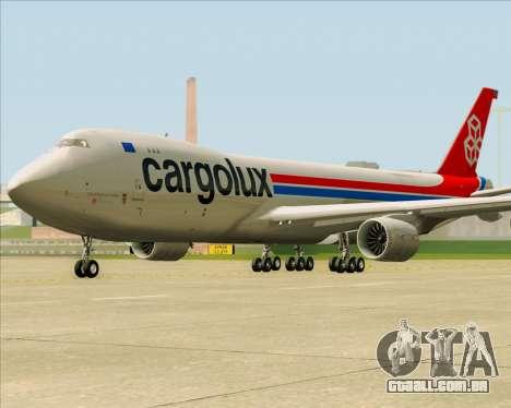 Boeing 747-8 Cargo Cargolux para vista lateral GTA San Andreas