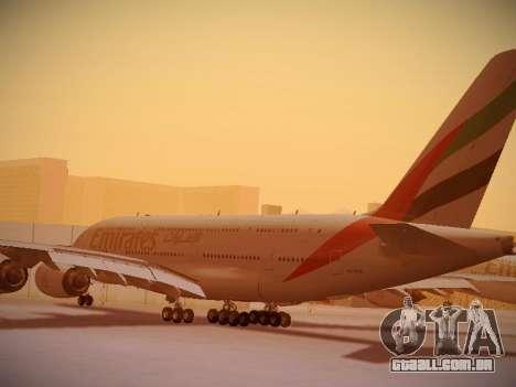 Airbus A380-800 Emirates para GTA San Andreas traseira esquerda vista