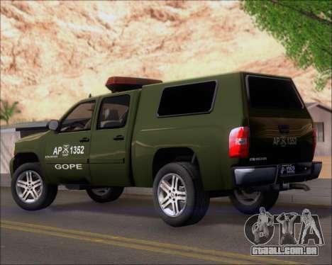 Chevrolet Silverado Gope para GTA San Andreas traseira esquerda vista