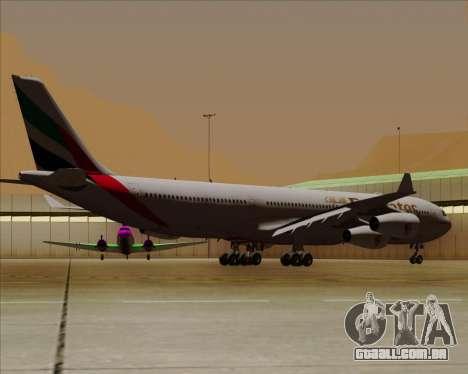 Airbus A340-313 Emirates para GTA San Andreas vista traseira