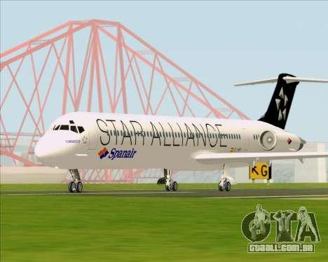 McDonnell Douglas MD-82 Spanair para GTA San Andreas vista traseira