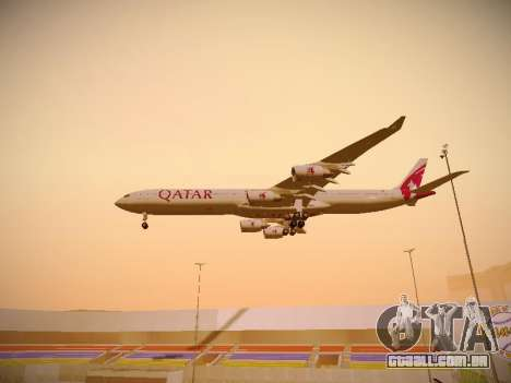 Airbus A340-600 Qatar Airways para GTA San Andreas vista inferior