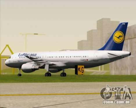 Airbus A320-211 Lufthansa para GTA San Andreas traseira esquerda vista