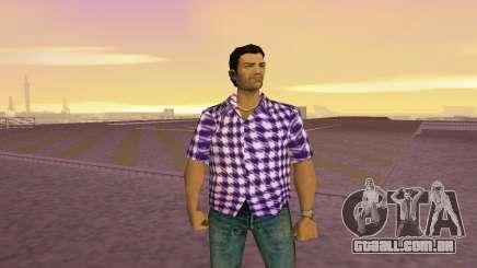 Kockas polo - lila T-Shirt para GTA Vice City