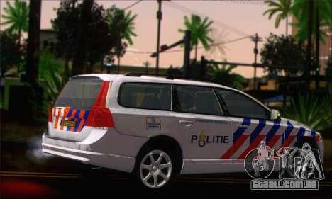 Volvo V70 LE Politie para GTA San Andreas esquerda vista