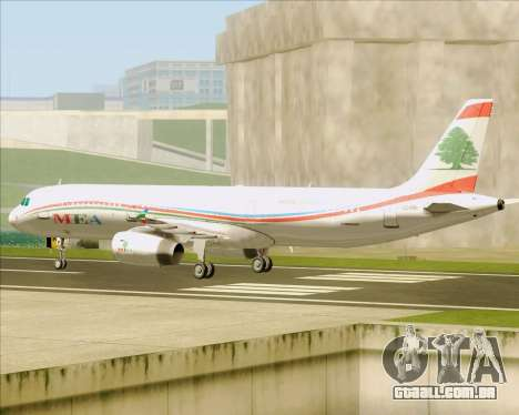 Airbus A321-200 Middle East Airlines (MEA) para GTA San Andreas vista traseira