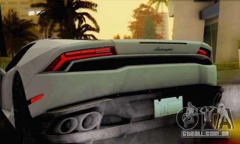 Lamborghini Huracan 2014 para GTA San Andreas traseira esquerda vista