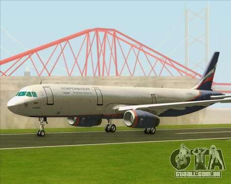Airbus A321-200 Aeroflot - Russian Airlines para GTA San Andreas esquerda vista
