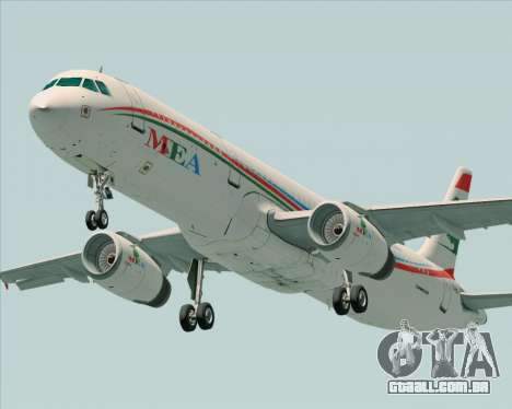 Airbus A321-200 Middle East Airlines (MEA) para GTA San Andreas vista interior