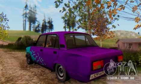 VAZ 2107 Chama Azul para GTA San Andreas traseira esquerda vista