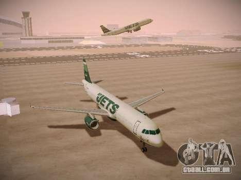 Airbus A321-232 jetBlue NYJets para GTA San Andreas vista traseira