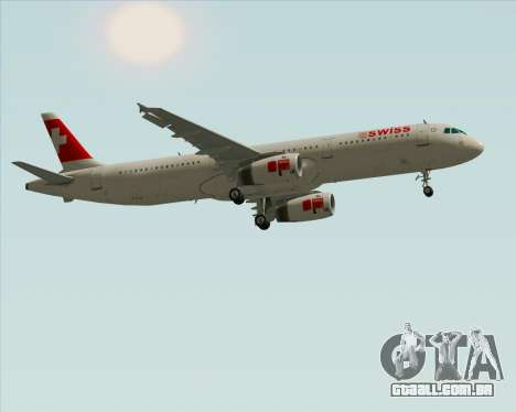 Airbus A321-200 Swiss International Air Lines para GTA San Andreas vista interior