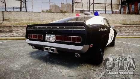 Shelby GT500 428CJ CobraJet 1969 Police para GTA 4 traseira esquerda vista