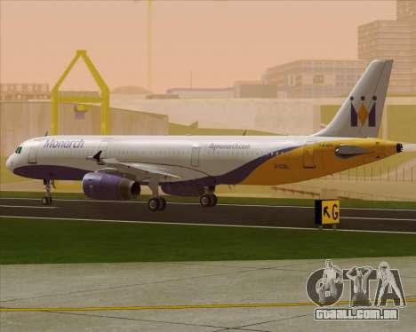 Airbus A321-200 Monarch Airlines para GTA San Andreas traseira esquerda vista