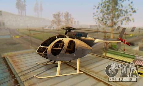 O MD500E helicóptero v3 para GTA San Andreas esquerda vista