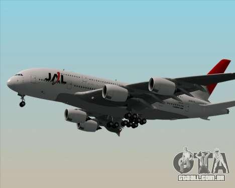 Airbus A380-800 Japan Airlines (JAL) para GTA San Andreas traseira esquerda vista