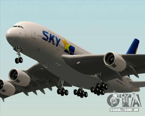Airbus A380-800 Skymark Airlines para GTA San Andreas traseira esquerda vista