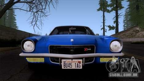 Chevrolet Camaro Z28 1970 (ImVehFt) para GTA San Andreas vista traseira