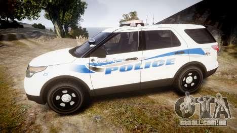Ford Explorer 2013 PS Police [ELS] para GTA 4 esquerda vista