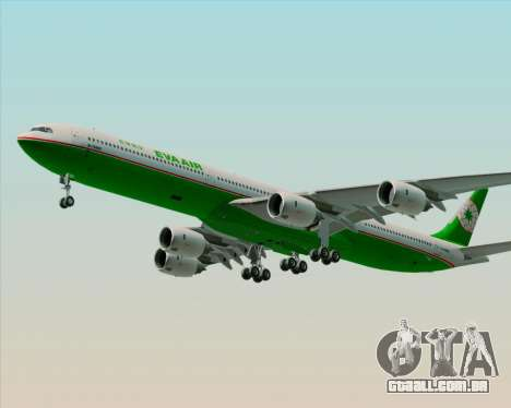 Airbus A340-600 EVA Air para GTA San Andreas vista inferior