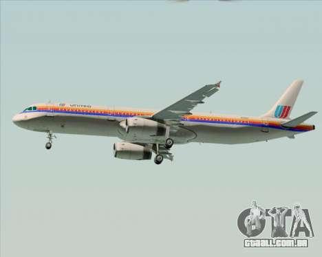 Airbus A321-200 United Airlines para GTA San Andreas vista interior