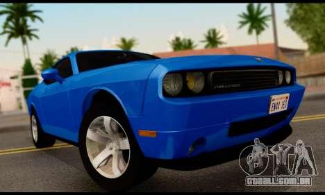 Dodge Challenger SXT Plus 2013 para GTA San Andreas traseira esquerda vista