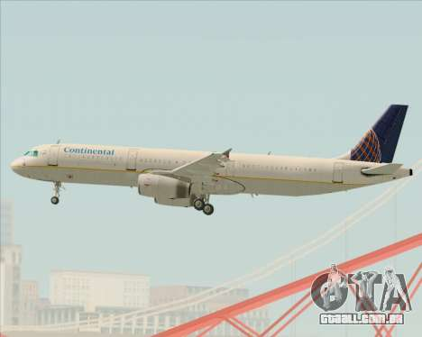 Airbus A321-200 Continental Airlines para vista lateral GTA San Andreas