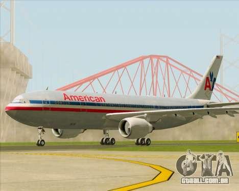 Airbus A300-600 American Airlines para GTA San Andreas traseira esquerda vista