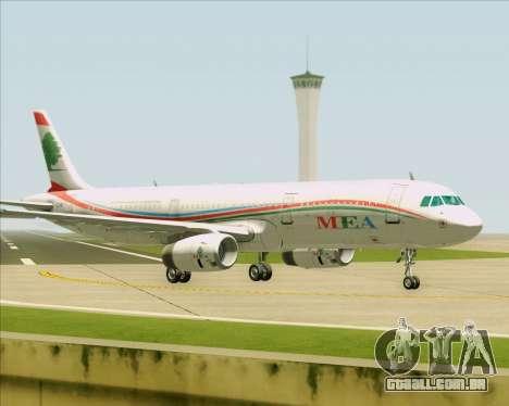 Airbus A321-200 Middle East Airlines (MEA) para GTA San Andreas traseira esquerda vista