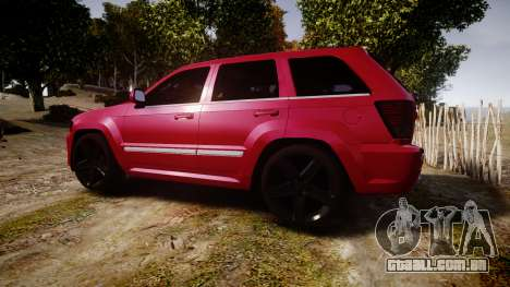 Jeep Grand Cherokee SRT8 license plates para GTA 4 esquerda vista