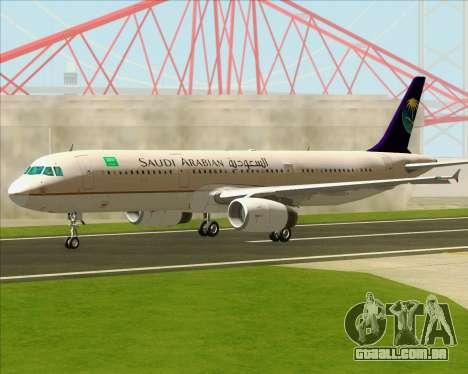Airbus A321-200 Saudi Arabian Airlines para GTA San Andreas vista interior