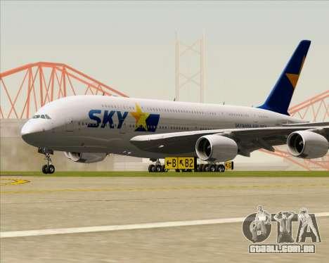 Airbus A380-800 Skymark Airlines para GTA San Andreas esquerda vista