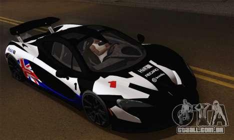 McLaren P1 Black Revel para GTA San Andreas vista interior