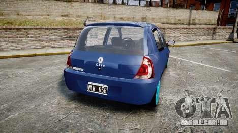 Renault Clio Mio 2014 para GTA 4 traseira esquerda vista