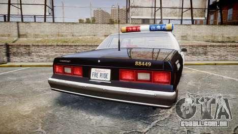 Chevrolet Impala 1985 LAPD [ELS] para GTA 4 traseira esquerda vista