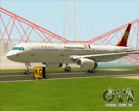 Airbus A321-200 TransAsia Airways para GTA San Andreas vista superior