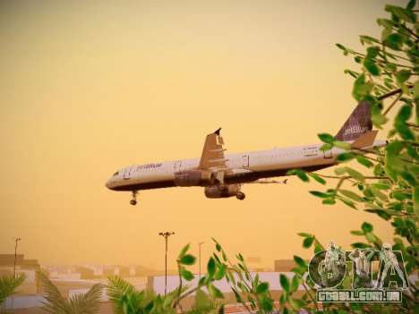 Airbus A321-232 jetBlue Batty Blue para vista lateral GTA San Andreas