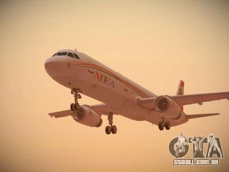 Airbus A321-232 Middle East Airlines para GTA San Andreas vista traseira