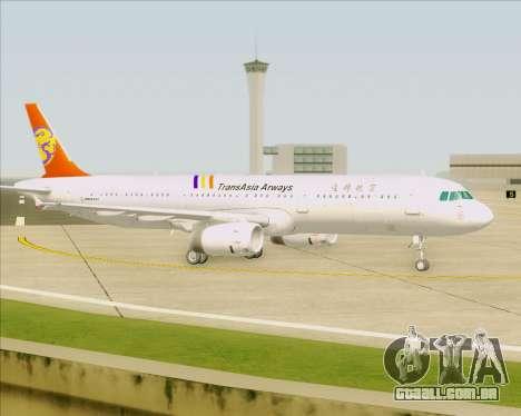 Airbus A321-200 TransAsia Airways para GTA San Andreas vista inferior