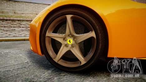 Ferrari FF 2012 Pininfarina Yellow para GTA 4 vista de volta