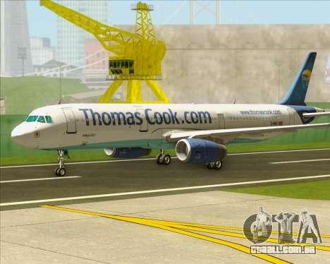 Airbus A321-200 Thomas Cook Airlines para GTA San Andreas esquerda vista