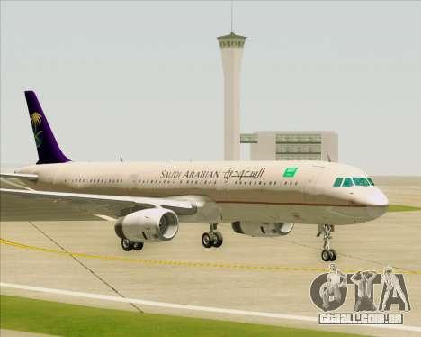 Airbus A321-200 Saudi Arabian Airlines para GTA San Andreas vista inferior