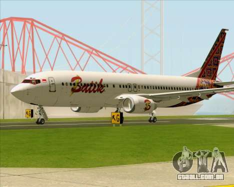 Boeing 737-800 Batik Air para GTA San Andreas traseira esquerda vista