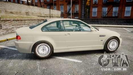BMW M3 E46 2001 Tuned Wheel White para GTA 4 esquerda vista