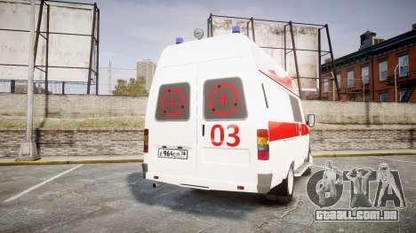 GÁS-32214 Ambulância para GTA 4 traseira esquerda vista