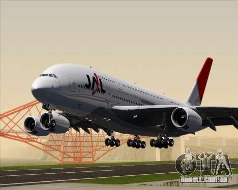 Airbus A380-800 Japan Airlines (JAL) para GTA San Andreas esquerda vista