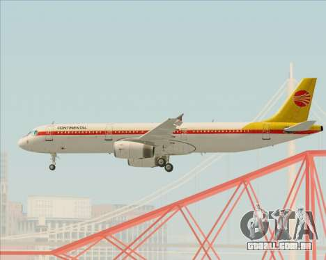 Airbus A321-200 Continental Airlines para GTA San Andreas vista inferior