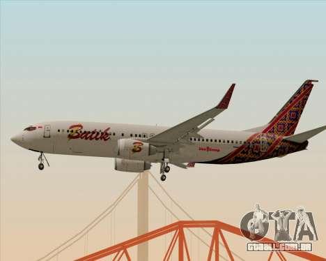 Boeing 737-800 Batik Air para GTA San Andreas vista direita